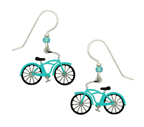 Sienna Sky Vintage Aqua Blue Bike Hand Painted Earrings with Gift Box Made in USA