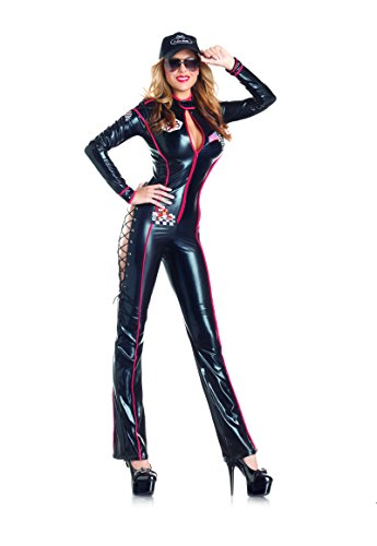 Costumes Patrick Danica (Adult Women's 3 Piece Sexy Race Car Driver Black Jumpsuit Halloween Party)