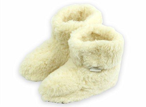 Krexus Damen Hüttenstiefel Warme Kuschel - Hausschuhe gefüttert Reykjavík - Wolle Creme