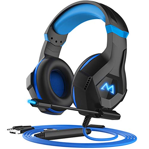 (Mpow EG9 Gaming Headset, RGB Light, 3D Surround Sound, Lightweight Computer PS4 Headset with Microphone Noise Canceling, Ultra Durable 3.5mm Gaming Headphones for PS4, PC, Xbox One, Nintendo Switch)