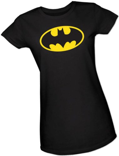 Batman+Retro+Shirts Products : Batman Classic Logo Crop Sleeve Fitted Juniors T-Shirt