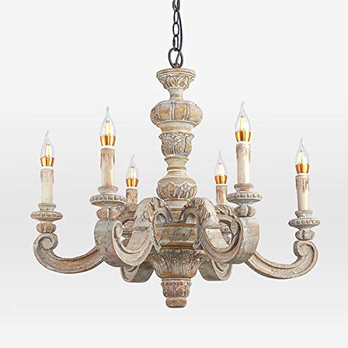 Old Chandelier Retro White Creative Study Room Children's Room Bedroom Wood Chandelier -7076cm (Hand Carved Wood Chandelier Light)