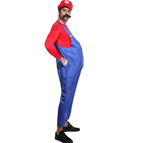 80s Mens Adult Super Mario Luigi Plumber Bros Workmen Game Fancy Dress Costume (Super Mario Costume For Men)
