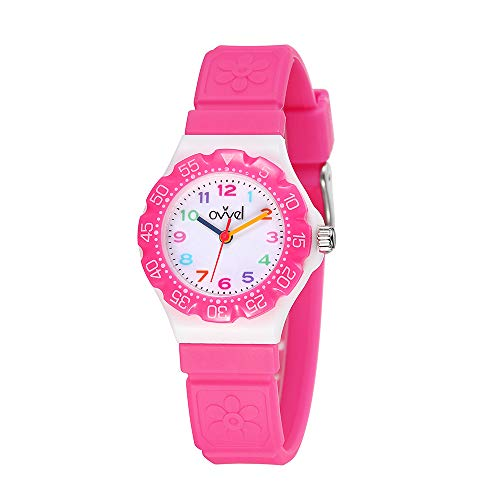 Ovvel Kids Watches, Wrist Watch for Little Girls, Beautiful & Adorable Time Teacher Watch, Innovative Easy-to-Read Design with Japanese Movement & Sony Battery, Gift for Little Girls - Pink ()