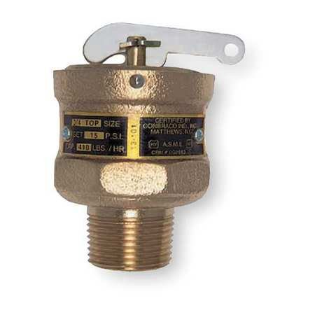 Safety Relief Valve, 3/4 In, 15 psi, Bronze