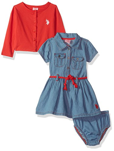 U.S. Polo Assn. Baby Girls' Dress with Sweater or Jacket, Engine red, 12M (Girl Assn Us Polo Baby)