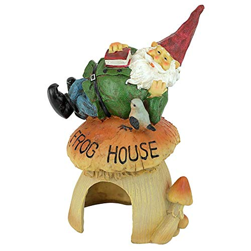 Garden Sculpted Gnome (Garden Gnome Statue - Garden Gnome Frog House - Toad House - Fairy Garden - Gnome Village)