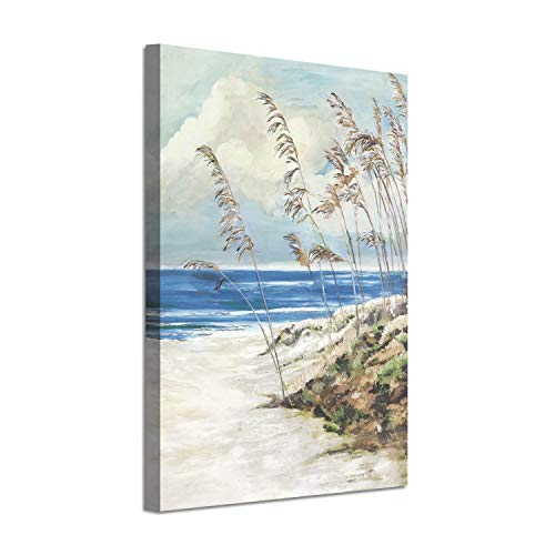 Abstract Arts Coastal Landscape Picture: Blue Ocean Sand Silver Foil Painting Print on Canvas (24