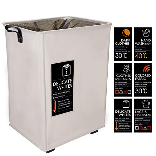 IHOMAGIC Foldable Laundry Basket with 6 Cards for DIY Medium Laundry Bin Collapsible Waterproof Laundry Hamper Movable with Coriaceous Handle and Mesh Cover for 70L Dirty Clothes Storage Beige ()