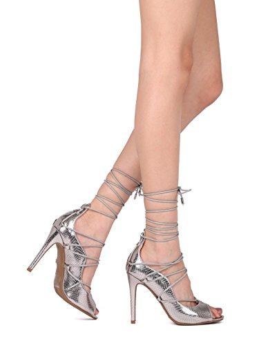 (Alrisco Women Reptile Peep Toe Lace Up Ankle Wrap Stiletto Pump HI12 - Pewter Metallic (Size: 9.0))