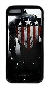 Captain America Cool Design Iphone 5C Black Sides Rubber Shell Case by eeMuse