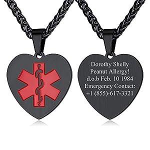 Custom4U Collana di allerta medica, ciondolo identificativo di emergenza inciso in acciaio inossidabile 316l… 15
