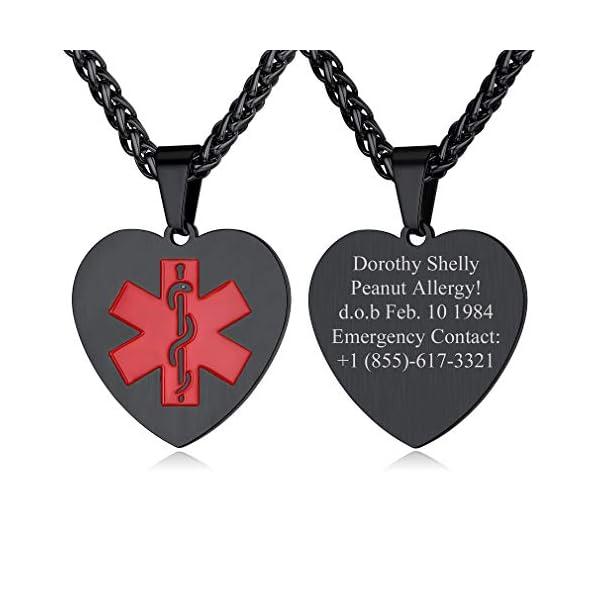 Custom4U Braccialetto di allerta medica, braccialetti Sos per uomo donna, braccialetti personalizzati per donna uomo… 1