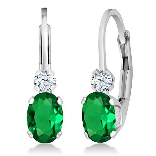 (Gem Stone King 1.44 Ct Green Simulated Emerald White Sapphire 925 Sterling Silver Leverback Earrings)