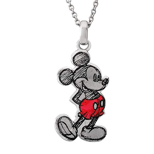 """Disney Mickey Mouse Classic Pose Silver Plated 18"""" Pendant Necklace, Mickey"""
