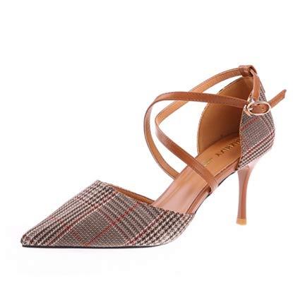 YMFIE Correas Cruzadas de Primavera y otoño acentuadas Tacones de Aguja de Moda Sexy Zapatos de tacón Alto Zapatos de Fiesta B