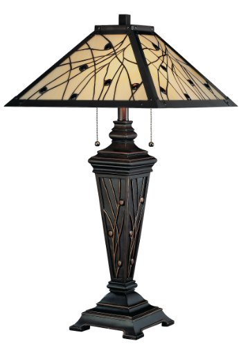Crackled Bronze Finish 2 Bulbs - Lite Source C41117 Remus Table Lamp, Dark Bronze with Tiffany Shade