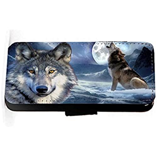 wolf face and howling faux PU leather wallet mobile phone case cover for Samsung Galaxy S7 Edge Sales