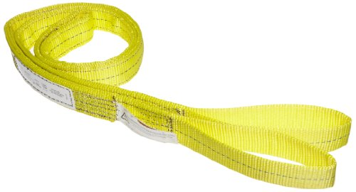 Indusco 77865731 Type 3 Nylon Flat Eye Synthetic Sling, 2 Ply, 6400 lbs Vertical Load Capacity, 16