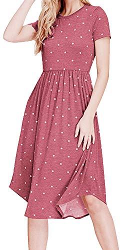 - YUNDAI Women Summer Short Sleeve Pleated Polka Dot Pocket Loose Swing Casual Midi Dress (Size S, Wine red)
