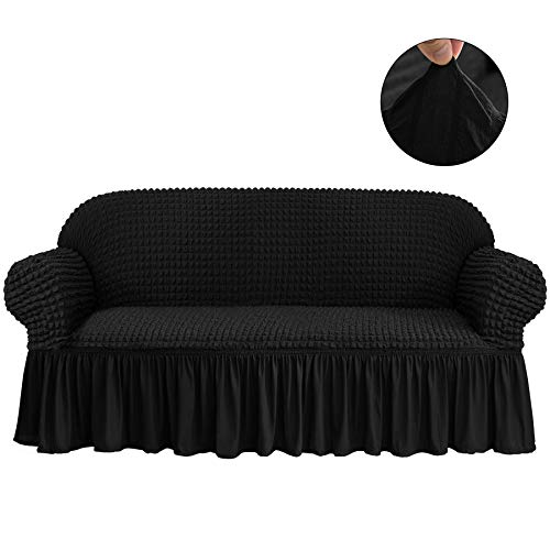 CHUN YI 1-Piece All-Purpose Universal Easy Fitted Sofa Couch Cover Stretchable High Elasticity Durable Furniture Protector 3 Seats Sofa Slipcover with Skirt (Sofa, Black)