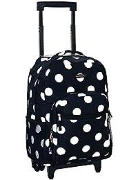 Luggage 17 Inch Rolling Backpack, Black Dot, Medium