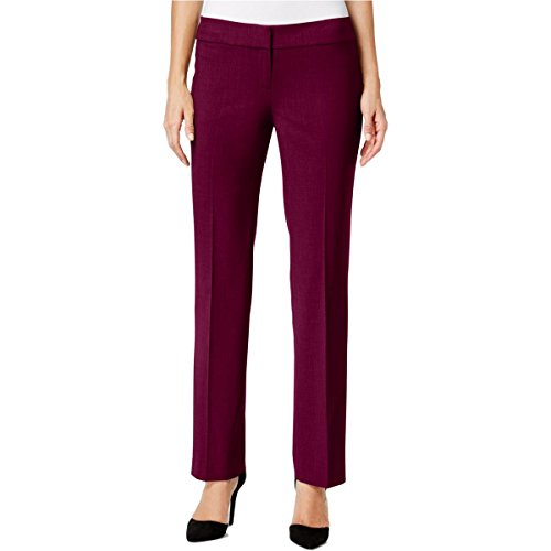 Nine West Women's Stretch Crepe Trouser Pant, Wine, 14