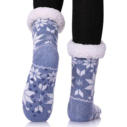 MIUBEAR Womens Thermal Slipper Socks Sherpa Lined Nonskid Fuzzy Cozy Winter Socks (Snowflake ()