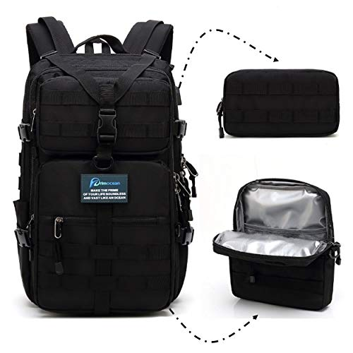 PRIMOCEAN Backpack 40L-50L, Insulated Cooler Bag, Hiking, Traveling, 17-inch Laptop, Camping, 3 in 1 Detachable, Waterproof, USB Port, Molle, Beach, Fishing, Hunting, Meal Prep Lunch Box (Black)