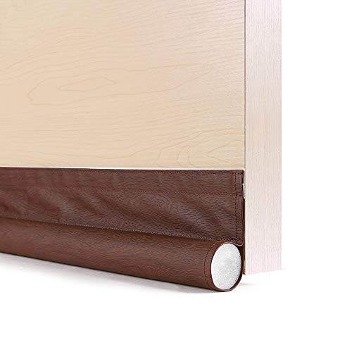 GNEGNI One Sided Door Draft Stopper,36 Inch Single Draft Noise Blocker for Doors Windows(Wooden Coffee) (Door Draft Blocker In Coffee Draft Stopper)
