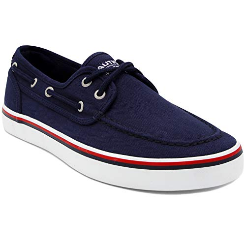 Nautica Men's Spinnaker Lace-Up Boat Shoe, Casual Loafer, Fashion Sneaker-Navy Herringbone-12]()