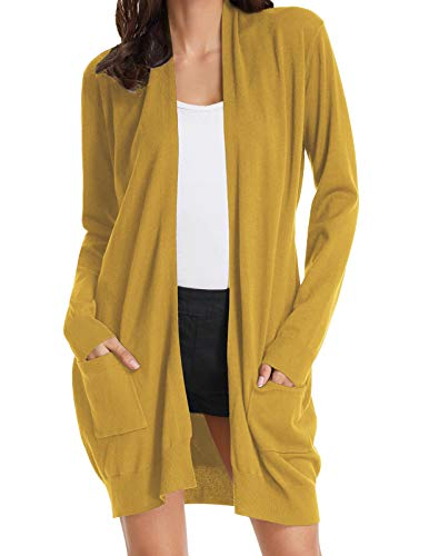 GRACE KARIN Long Sleeve Open Front Casual Knit Cardigan Sweaters Draped Kimono Mustard XL
