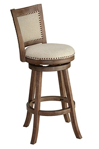 Cortesi Home CH-CS624495 Marko Stool in Beige Fabric Swivel Back, 24