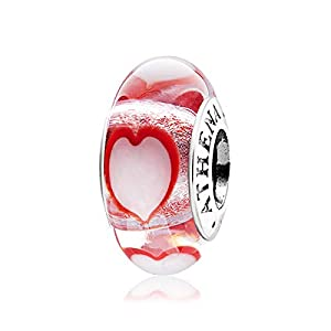 ATHENAIE Murano Glass 925 Sterling Silver Core Red Dancing Hearts Charms Bead for Bracelet