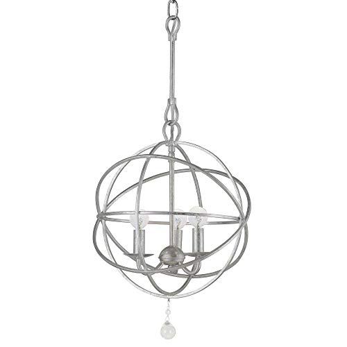 Crystorama 9225-OS Transitional Three Light Mini Chandeliers from Solaris collection in Pwt, Nckl, B/S, Slvr.finish, - Light Chandelier Crystorama Lighting
