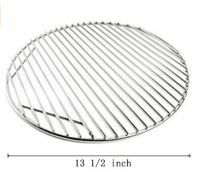 Round Hinged Cooking Grill Grate Replacements - 13 1/2 Inches Stainless Steel Grill Grid for Weber, Kamado Joe Classic, Char Griller Barbecue BBQ Ceramic By FAS (Industries Stainless Steel Grid)