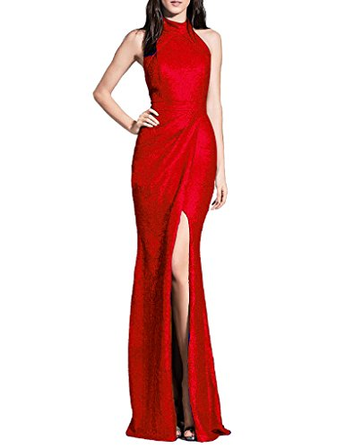 ASBridal Women's Long Sequins Halter Evening Prom Dress Split Party Gowns, Red, US24W ()