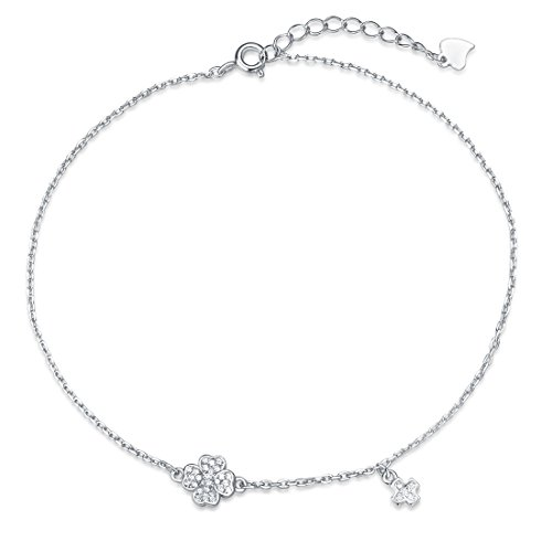 (Agvana 925 Sterling Silver Four Leaf Clover Anklet Set Cubic Zirconia CZ Cross&Clover Charm Beach Ankle Bracelet Summer Jewelry for Women Girls 8.7''+1.2'')