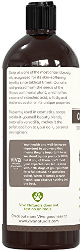 Viva Naturals Certified Organic Castor Oil (16 oz) – 100% Pure and Hexane Free + BONUS Mascara Kit Included, Perfect for Hair Care, Eyelashes and Brows by Viva Naturals (Image #3)