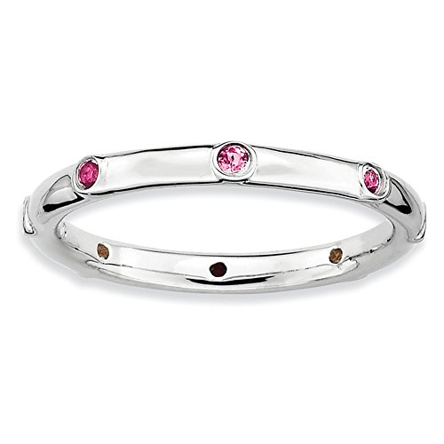 Size 6 Pink Tourmaline Studded 2.25mm Band Silver Stackable Expressions - Mm 2.25 Band Studded