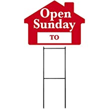 """OPEN SUNDAY Sign with Area for Time - Red House Shape Corrugated Sign INCLUDES 24"""" Sign Stake"""
