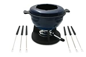 Swissmar Lucerne 10-Piece Meat Fondue Set, Blue Enameled Pot