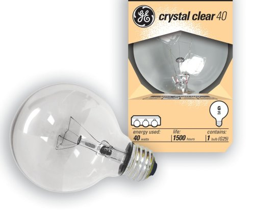 GE Globe Bulb, Crystal Clear,