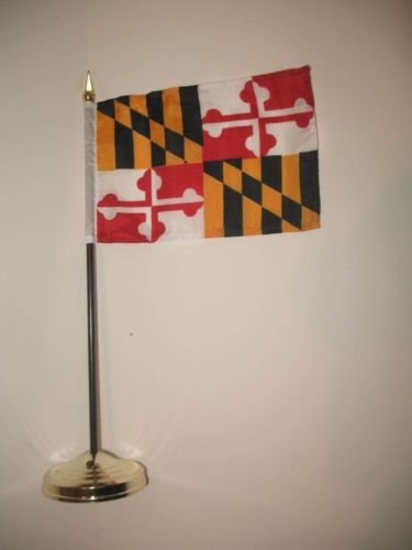 Maryland State Flag 4''x6'' Desk Set Table Stick Gold Base B