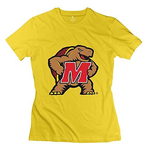 Enocho Womens Maryland Terrapins Baseball T Shirt   L Yellow