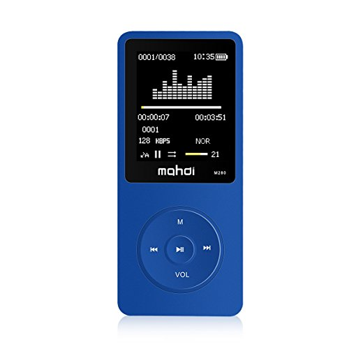 MYMAHDI 8GB 70 Hours Playback MP3 Lossless Sound Music Player Support TF Card,Voice Recorder E-Book Reader Blue ()