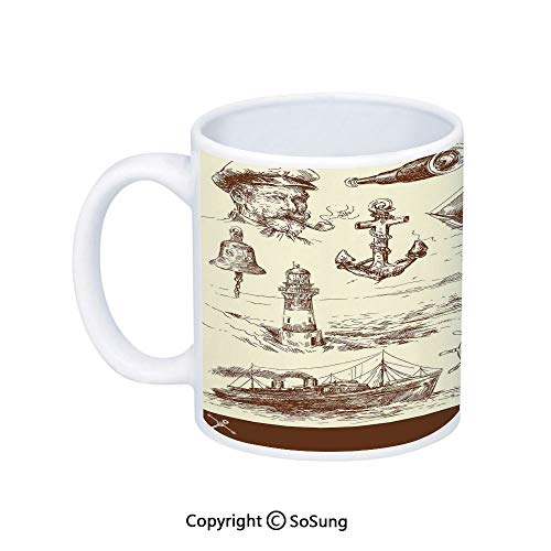 Marine Navy Captains Coffee Mug,Oceanic Theme Retro Style Drawing Effect Framed Nautical Collection,Printed Ceramic Coffee Cup Water Tea Drinks Cup,Brown ()