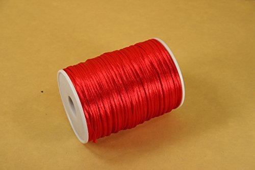 2.5mm Rattail Cord Chinese Knot Rat-tail Jewelry Making Braid 100 Yards (RED)