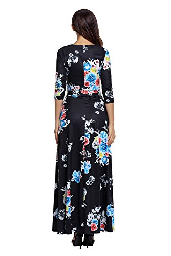 Neck XXL Women Dress Maxi V Wrap S 2 Waist Black 10 Printed AlvaQ Tie Floral Floral wtpqRTA