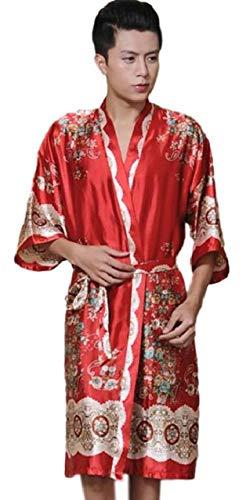 Jual Glasshe Men s Satin Printed Robe Kimono Short Sexy Bathrobe ... 5bcff79cf